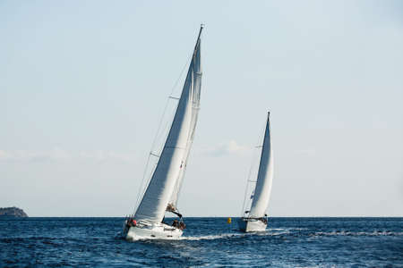 Photo for Yachts ship with white sails in the Sea at sailing regatta. - Royalty Free Image