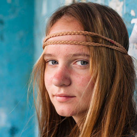 Photo for Close-up portrait of young sweet girl hippie outdoor (Woodstock concept) - Royalty Free Image