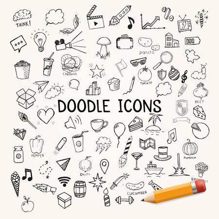 Illustration pour Set of doodles icons, vector hand-drawn objects, illustration - image libre de droit