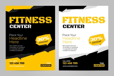 Foto de Vector layout design template for fitness center or other sport event. - Imagen libre de derechos