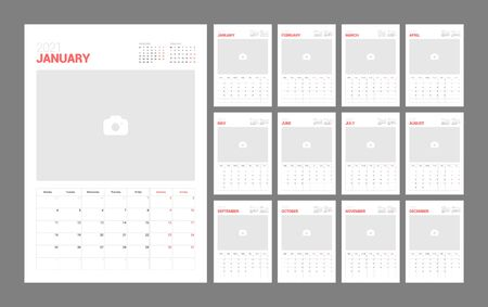 Illustration pour Wall calendar template for 2021 year. Planner diary in a minimalist style with Place for Photo. Week Starts on Monday. Monthly calendar ready for print. - image libre de droit