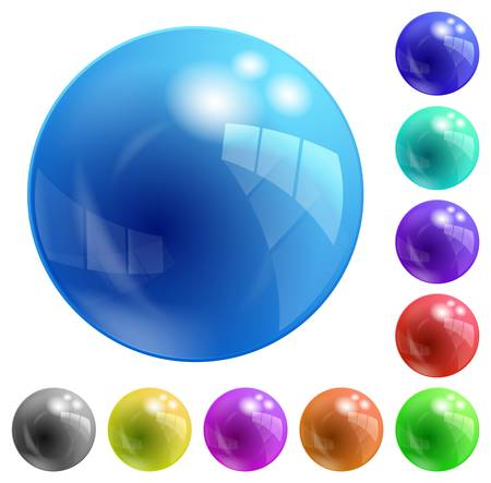 colored, glass balls of different colors