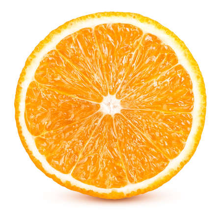 Photo pour slices of ripe orange fruits isolated on white background - image libre de droit