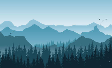 Illustration pour Beautiful mountains landscape in the foggy morning. Trees and hills. Light blue tones flying birds - image libre de droit