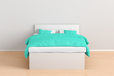 White double bed with turquoise linen in simple interior. 3d render