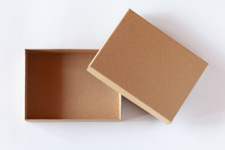 Foto de Blank closed carton box packaging isolated on white background. View above. - Imagen libre de derechos