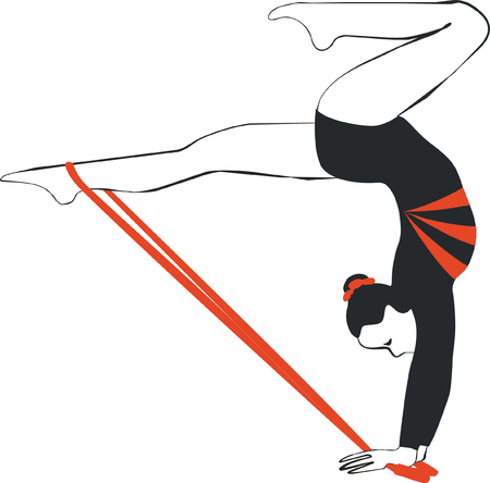 Vector. Gymnast with ribbon in color 04