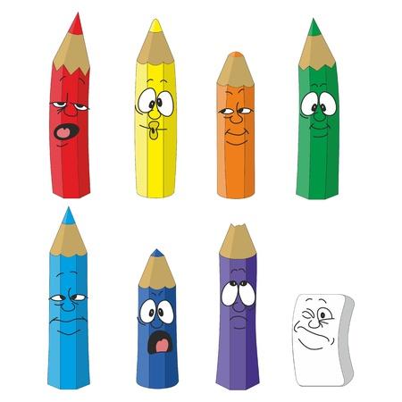 Illustration pour Vector Cartoon emotional pencil set color 10 - image libre de droit