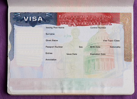 Blank american visa in passport page. Empty visa to enter United state of america