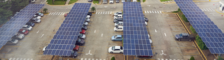 Photo for Parking lot with solar panel on roof aerial above view - Royalty Free Image