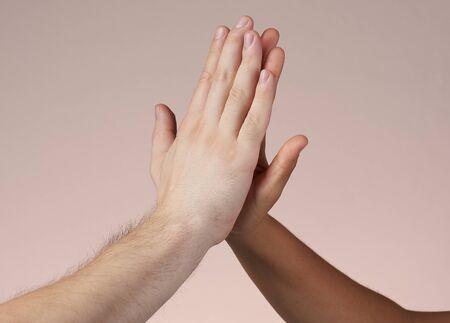 Photo pour Hi-five hands isolated. Win and teamwork concept. - image libre de droit