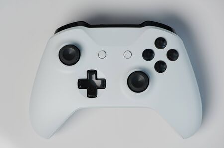 Photo for Grey game controller with black buttons macro close up view - Royalty Free Image