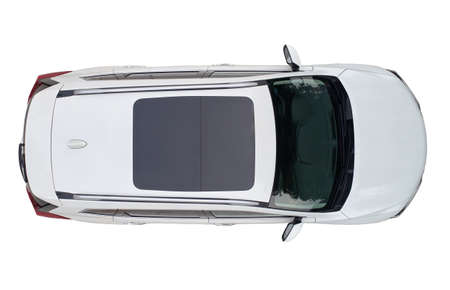 Photo pour Modern white suv car with sun roof isolated above top drone view - image libre de droit