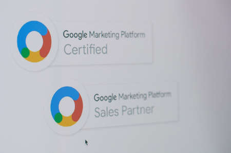 Photo for New york, USA - November 24, 2020: Becoming google marketing partner on laptop screen close up view - Royalty Free Image