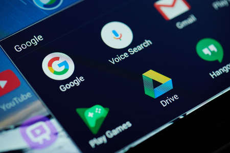 Photo for New york, USA - April 26, 2021: Google search apps on device screen macro close up view - Royalty Free Image
