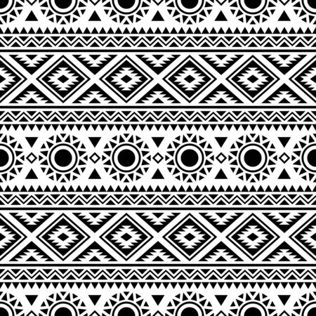 Illustration pour Seamless ethnic pattern. Traditional tribal pattern in black and white color - image libre de droit