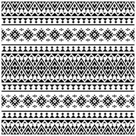 Illustration pour Aztec Ikat ethnic pattern vector in black and white color. Seamless Ethnic Pattern background texture - image libre de droit