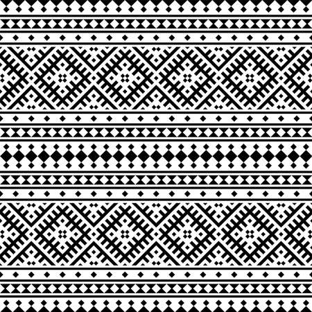 Illustration for Seamless Ethnic Pattern Illustration vector with tribal design in black and white color - Royalty Free Image