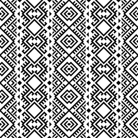 Illustration pour Aztec ethnic seamless pattern design in black and white color. Ethnic Illustration vector. - image libre de droit