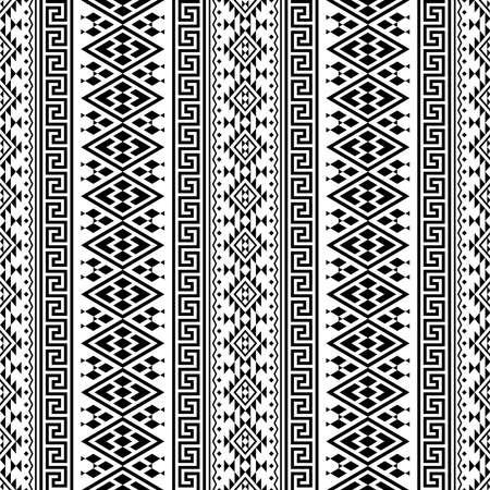 Illustration pour Seamless ethnic pattern texture background design in black white color - image libre de droit