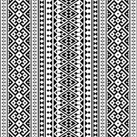 Illustration for Aztec ethnic seamless pattern design in black and white color. Ethnic Illustration vector. - Royalty Free Image
