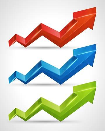 3d arrow graph growth up illustration set