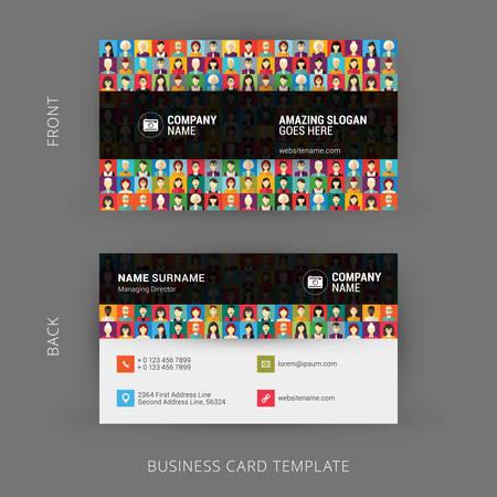 Foto de Creative and Clean Business Card Template. Flat Design Pattern with Human Faces - Imagen libre de derechos