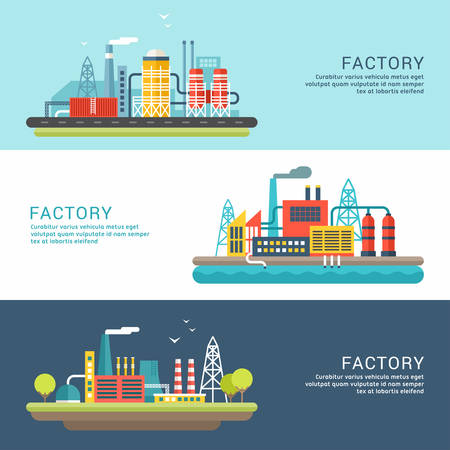 Illustration pour Set of Industrial Factory Buildings. Flat Style Vector Conceptual Illustrations for Web Banners or Promotional Materials - image libre de droit