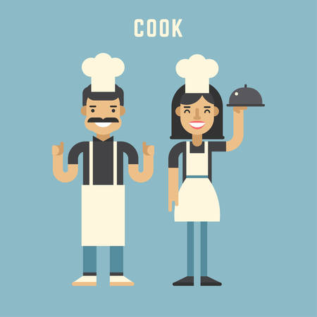 Cook Concept. Cook. Male and Female Cartoon Characters. Flat Design Vector Illustration