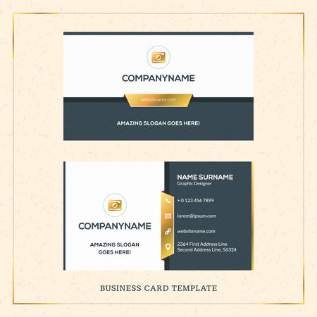 Ilustración de Modern Creative Golden Business Card Vector Template. Vector Illustration. Stationery Design. Gold and Black - Imagen libre de derechos