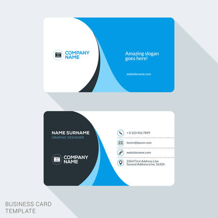 Ilustración de Creative and Clean Corporate Business Card Template. Flat Design Vector Illustration. Stationery Design - Imagen libre de derechos
