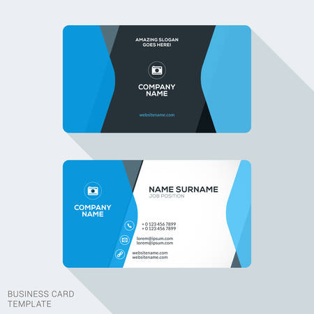 Illustration pour Creative and Clean Corporate Business Card Template. Flat Design Vector Illustration. Stationery Design - image libre de droit