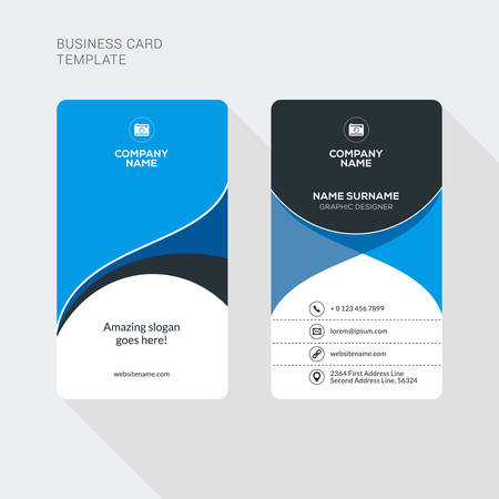 Illustration for Modern Creative and Clean Two Sided Business Card Template. Flat Style Vector Illustration. Vertical Visiting or Business Card Template. Stationery Design - Royalty Free Image