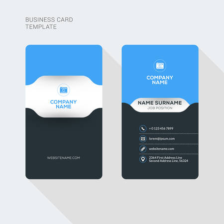 Illustration for Creative and Clean Business Card Vector Print Template. Vertical Business Card Template. Flat Style Vector Illustration. Stationery Design - Royalty Free Image