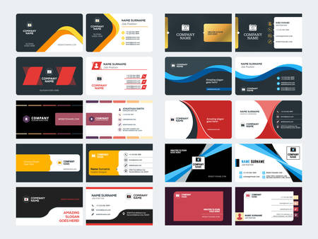 Photo pour Set of Creative and Clean Corporate Business Card Print Templates. Flat Style Vector Illustration. Stationery Design - image libre de droit