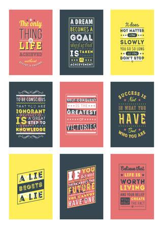 Illustration pour Set of Inspirational and Motivational Quotes Typographic Posters. Vector Illustration in Flat Style. Vector Quote. Poster Template - image libre de droit