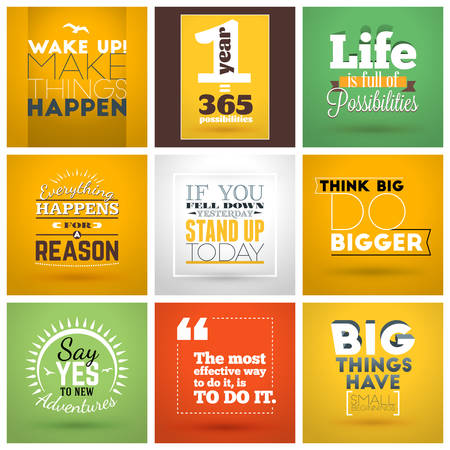 Illustration pour Set of Inspirational and Motivational Typographic Quote Vector Posters. Vector Typographic Background Design - image libre de droit
