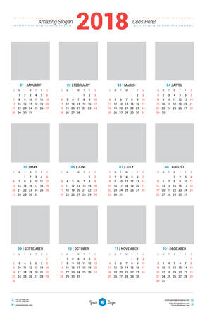 Calendar Design Template for 2018 Year. Week starts Sunday. Stationery Design. Vector Calendar Poster with Place for Photo
