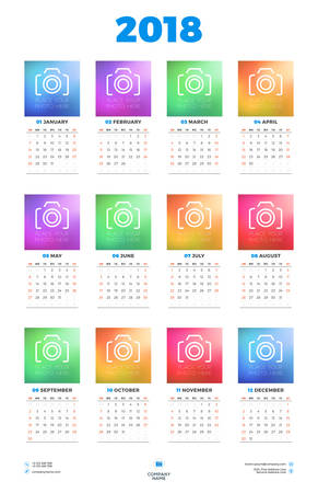 Calendar Poster Template for 2018 Year. Week starts Sunday. Stationery Design. Vector Calendar with Place for Photo on White Background