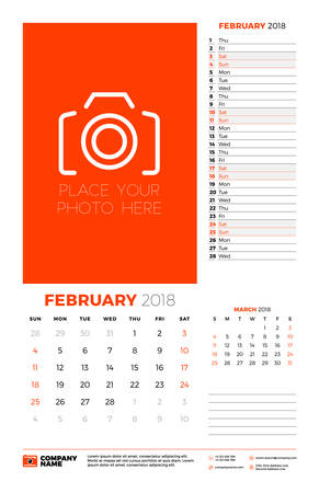 Vector calendar planner template for 2018 year. February. Vector design print template with place for photo. Week starts on Sunday