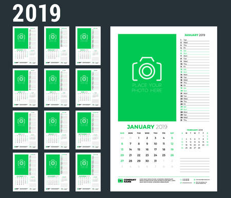 Wall calendar planner template for 2019 year. Week starts on Sunday. Vector illustration