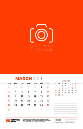 Wall calendar template for March 2019. Week starts on Sunday. Vector illustration