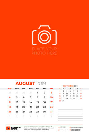 Wall calendar template for August 2019. Week starts on Sunday. Vector illustration