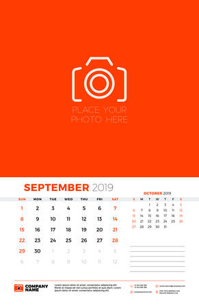 Wall calendar template for September 2019. Week starts on Sunday. Vector illustration