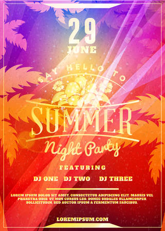 Illustration for Summer night party flyer or poster. Vector design template with colorful abstract background - Royalty Free Image
