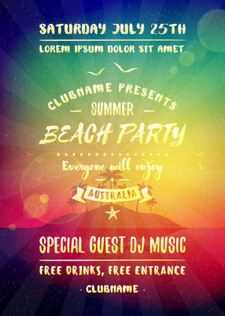 Illustration pour Summer night party flyer or poster. Vector design template with colorful abstract background. Dance club event layout template - image libre de droit