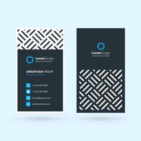 Illustration pour Vertical double-sided black and blue modern business card template. Vector illustration. Stationery design - image libre de droit
