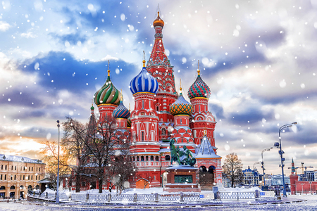 winter view of the St. Basil's Cathedral in Moscow