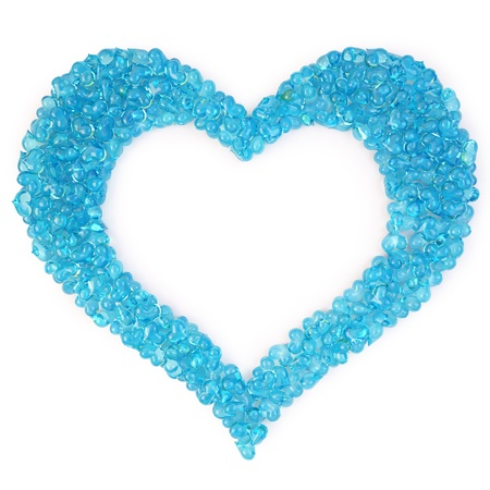 bunch of blue candy hearts in the form of a large heart. isolated on white.
