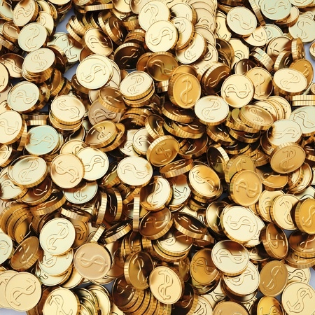 pile of gold coins. 3d image.